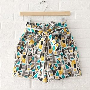 Geometric Modern Zara Tie Shorts XS Jewel Tone